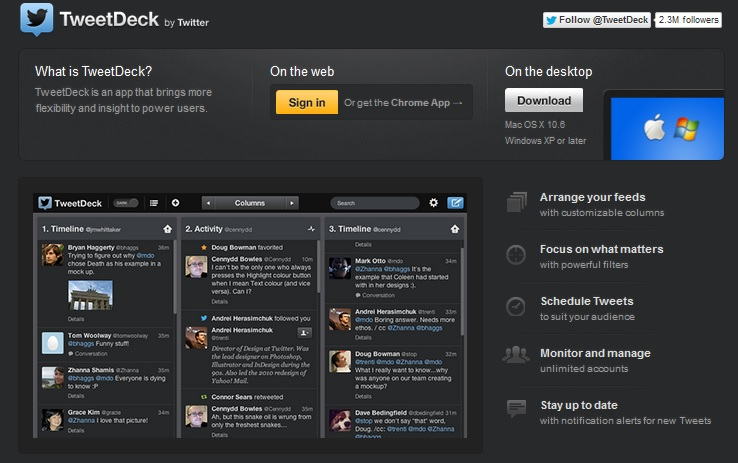 tweetdeck homepage