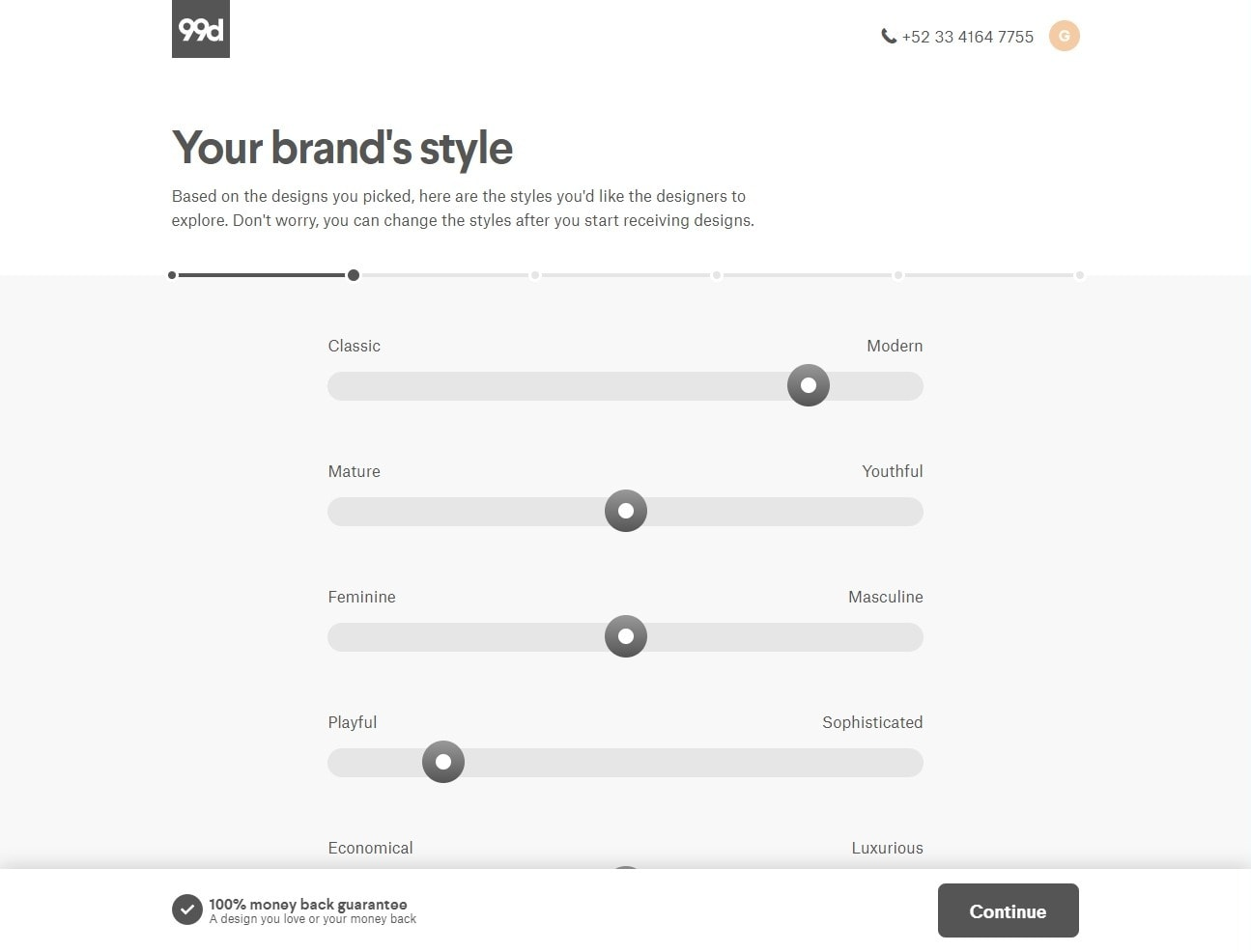99designs brand style sliders