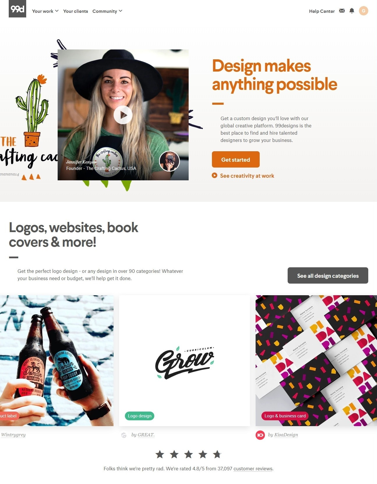 99designs homepage screenshot