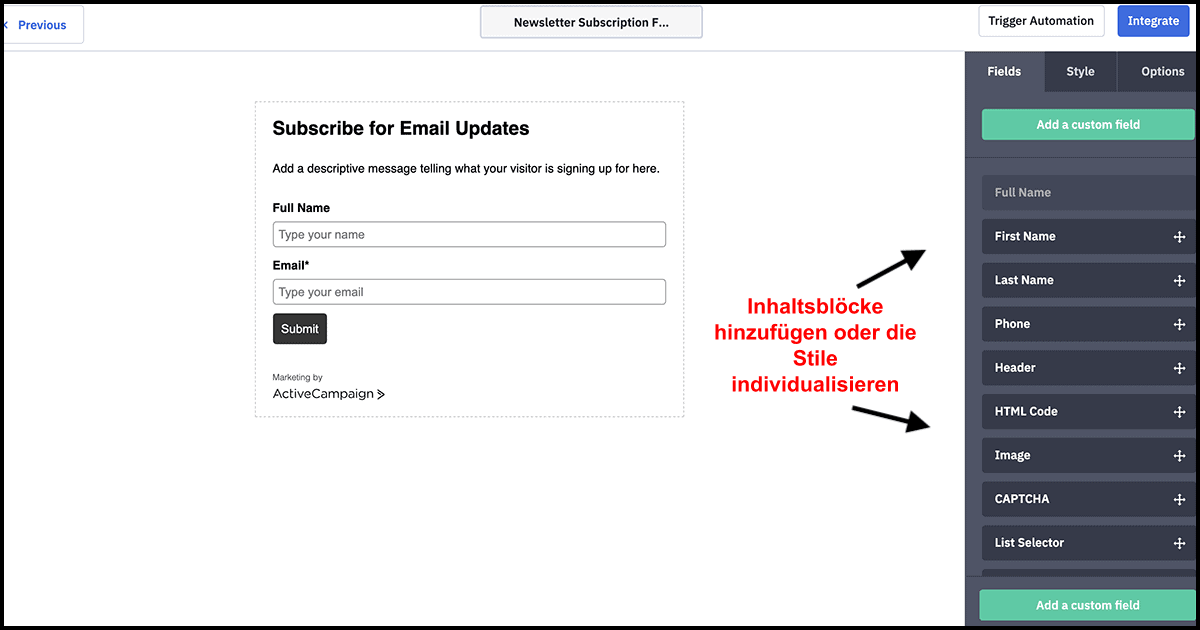ActiveCampaign form builder_DE