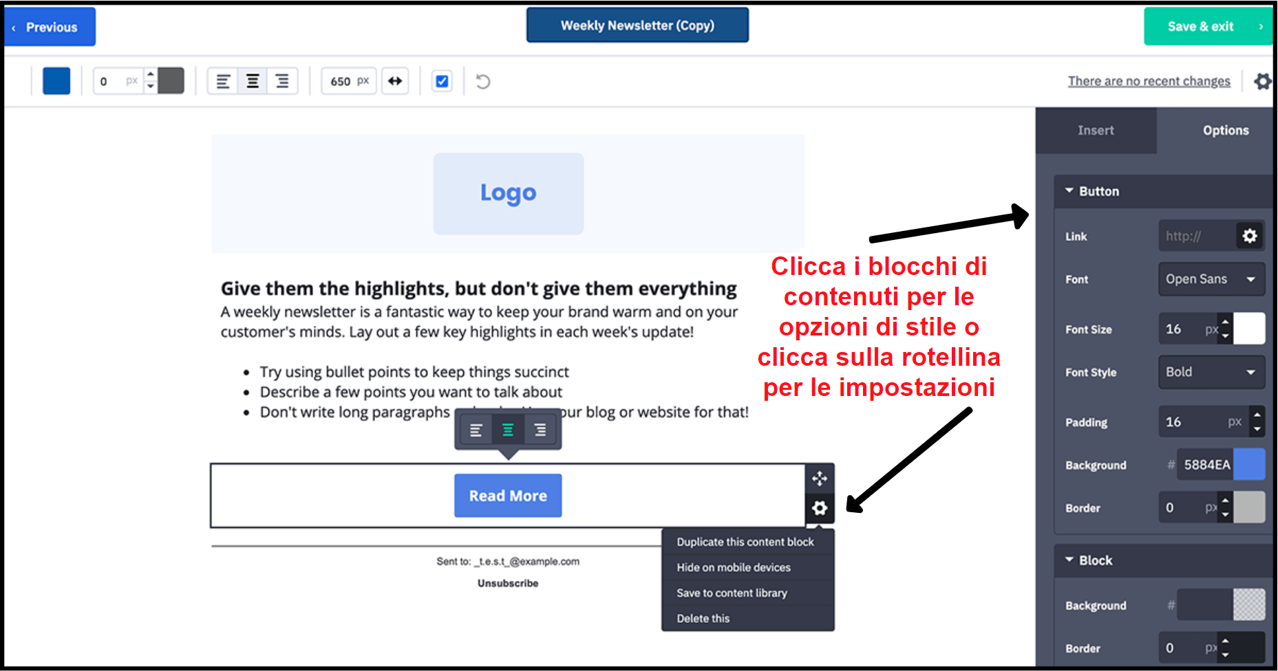 ActiveCampaign drag-and-drop editor