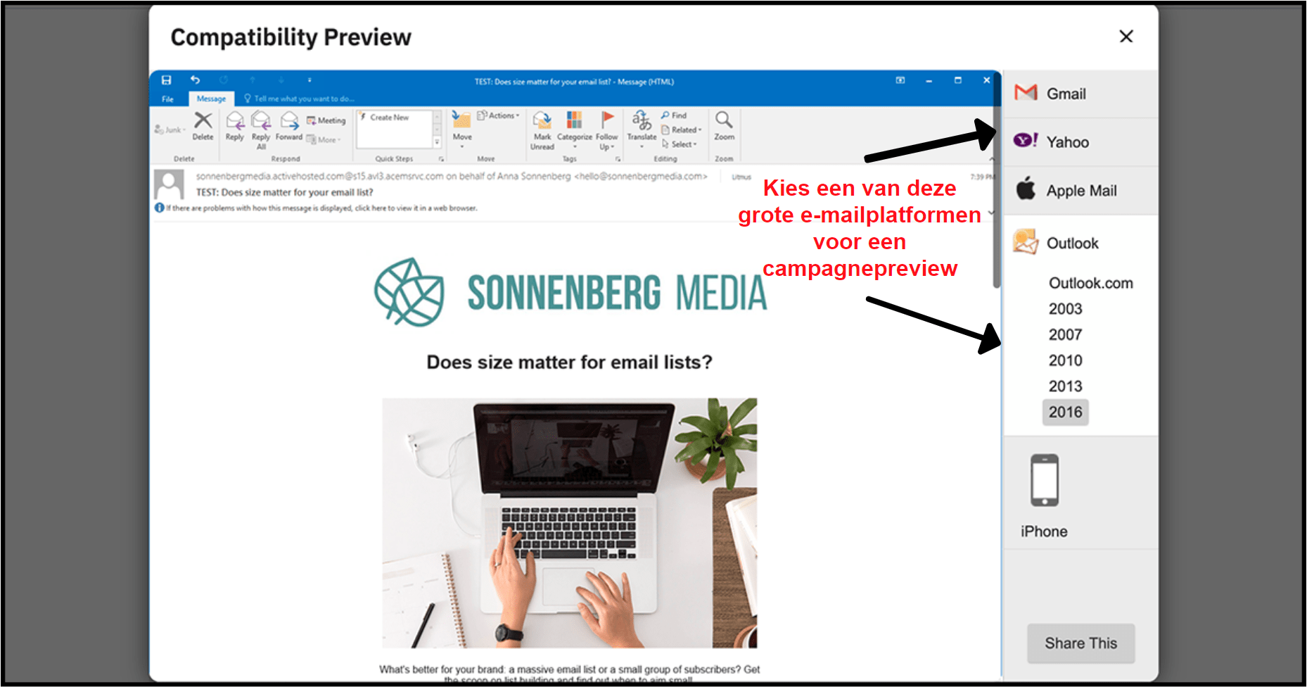ActiveCampaign email compatibility preview