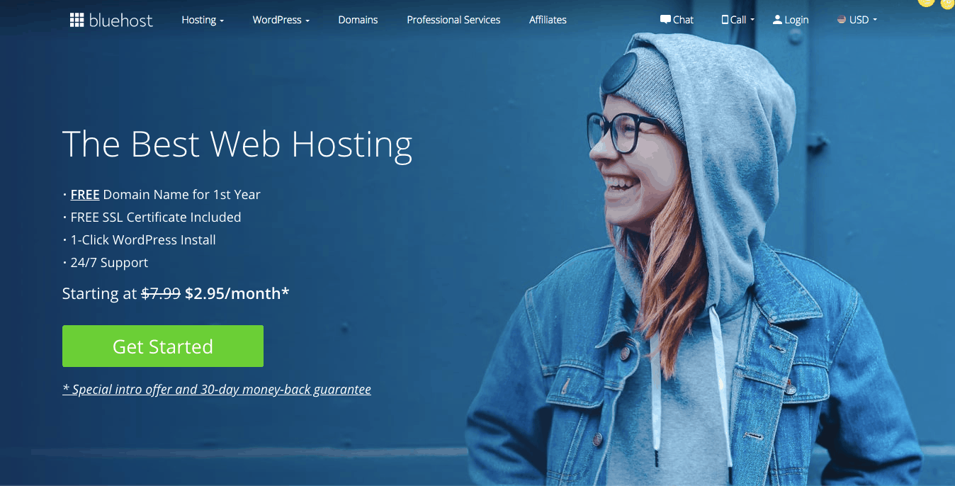 home page bluehost
