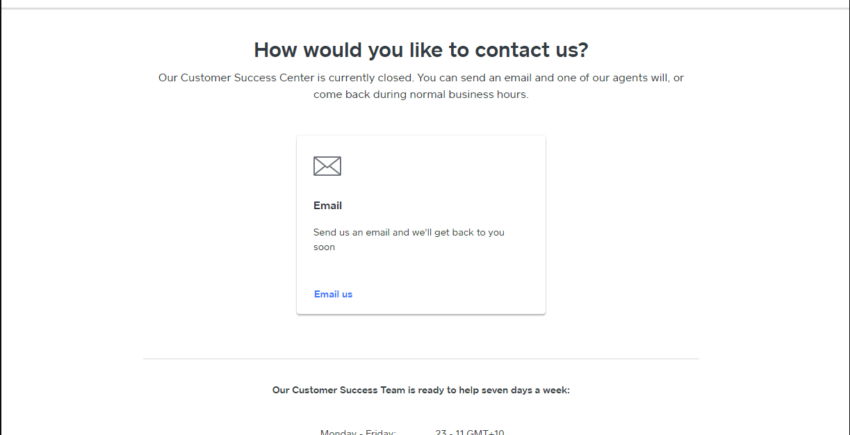 Contact Weebly support via email