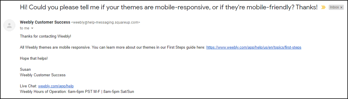 Emailing Weebly support about mobile responsiveness