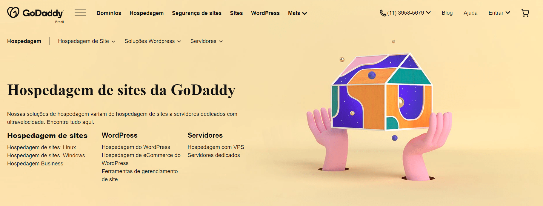 the GoDaddy home page