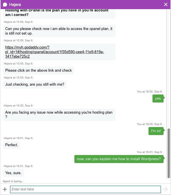 screenshot dalla live chat di godaddy