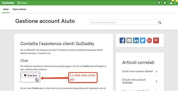 pagina di accesso alla chat di godaddy