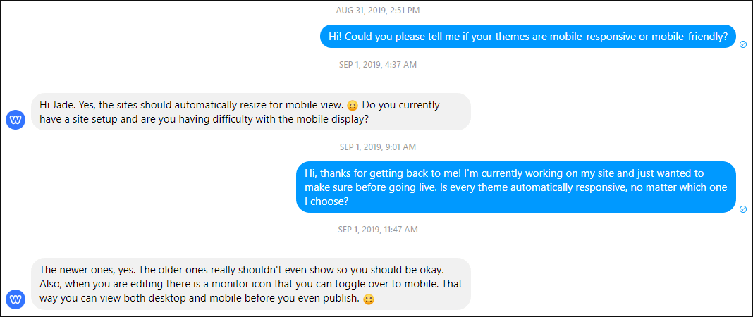 Messaging Weebly support on Facebook Messenger