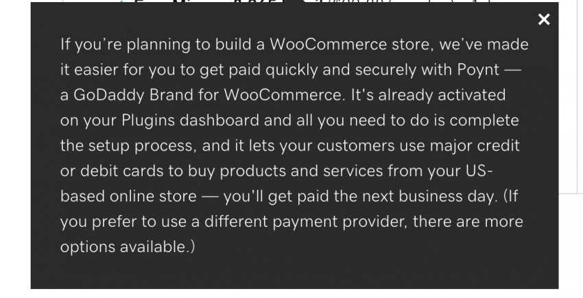 GoDaddy's WooCommerce plugin for fast payments