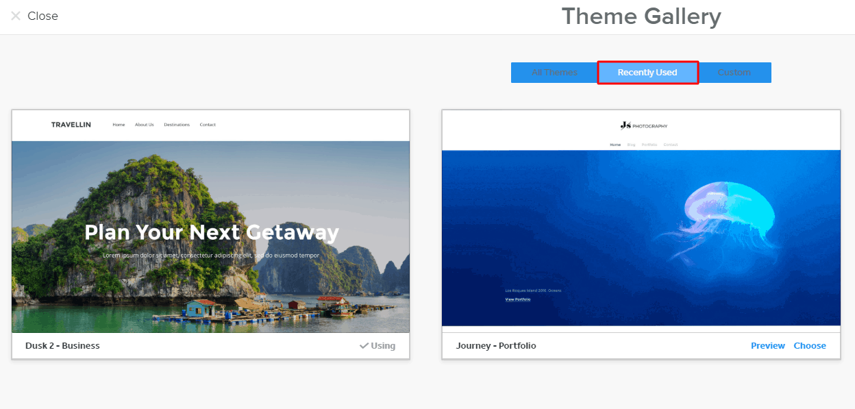 Weebly recently used themes