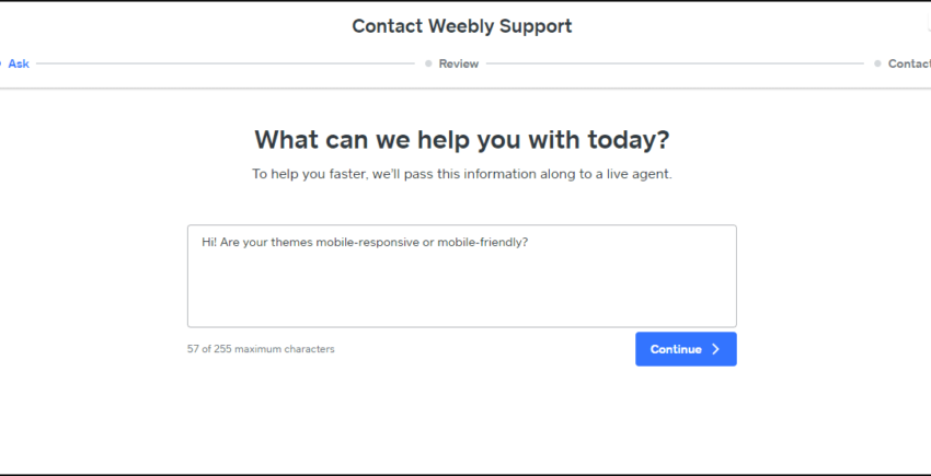 Weebly support contact form