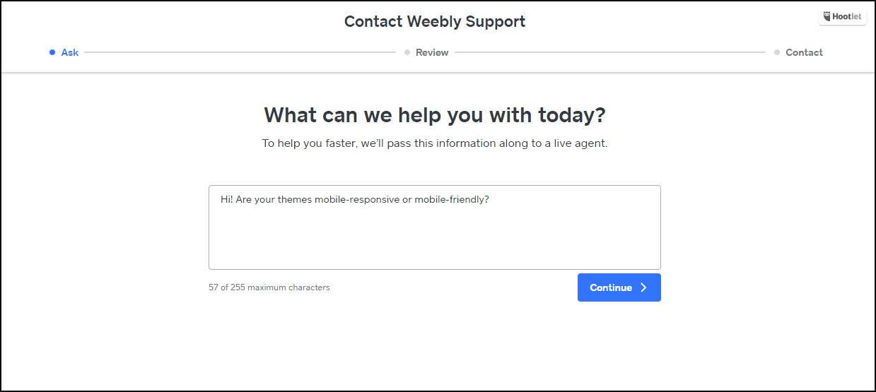 weebly phone number