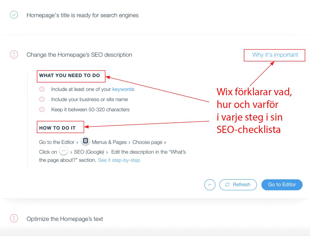 Wix SEO Wiz checklist 1
