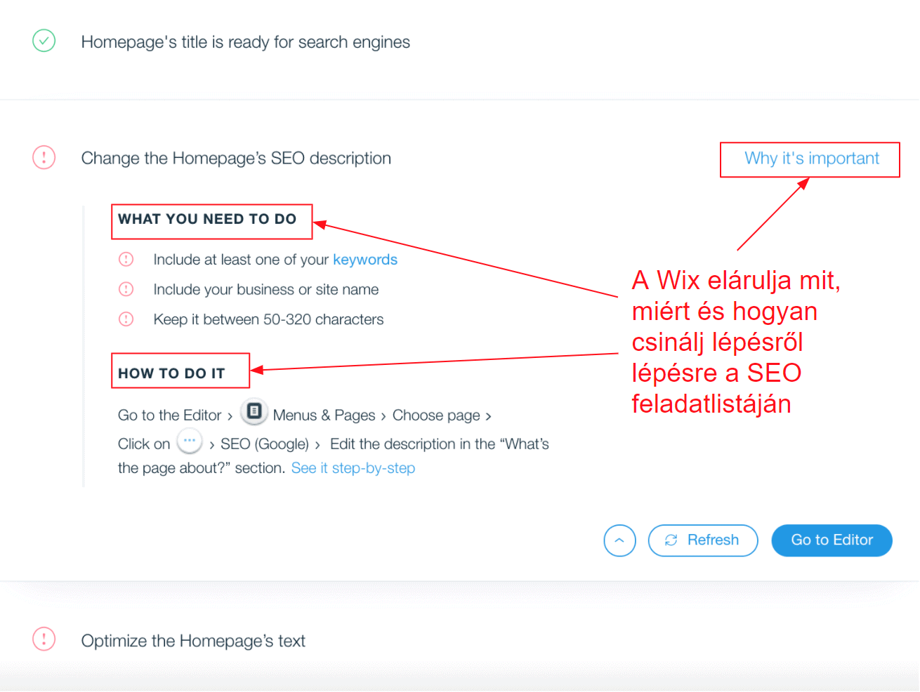 Wix SEO Wiz checklist