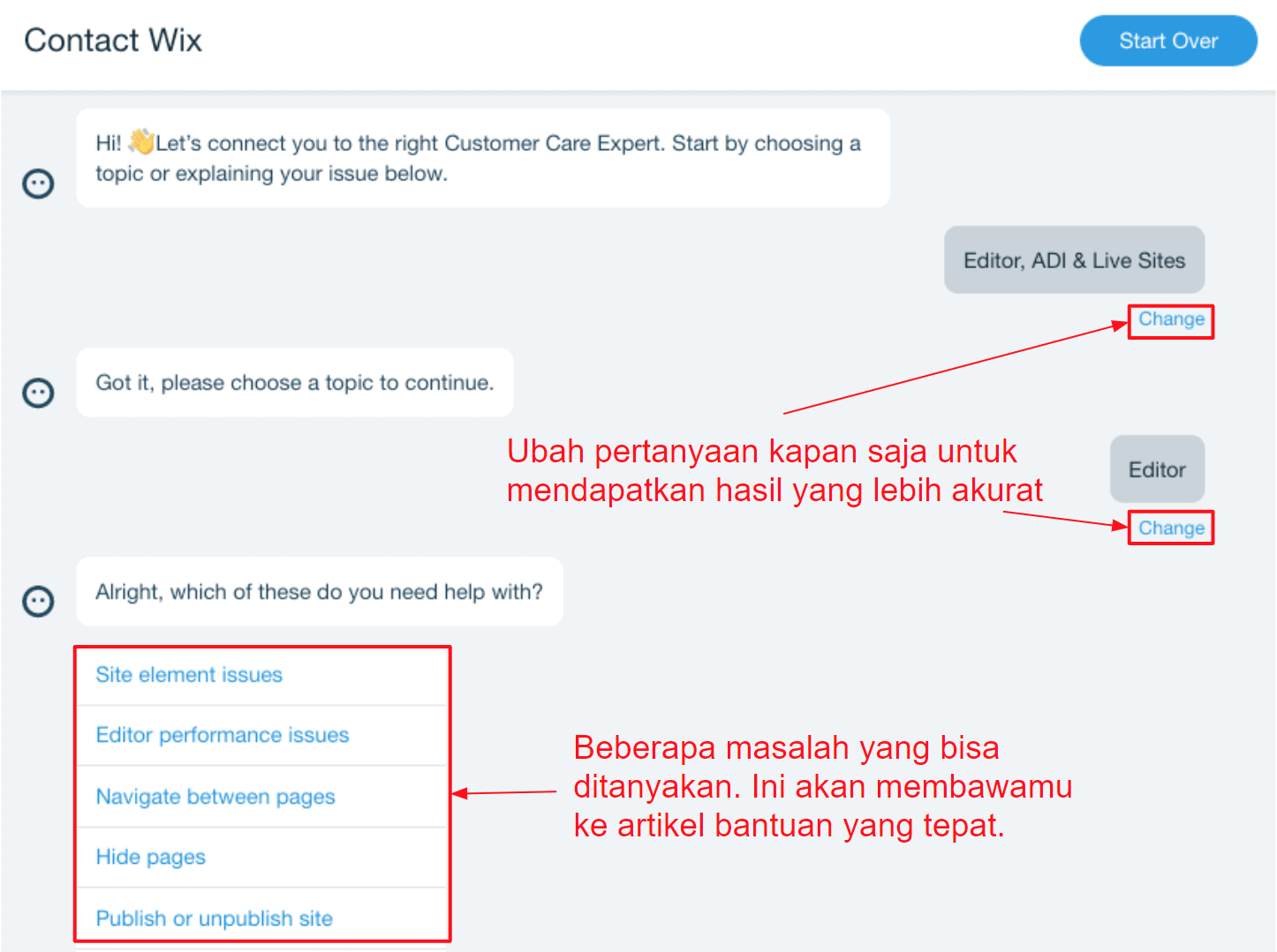 Support chatbot - Wix