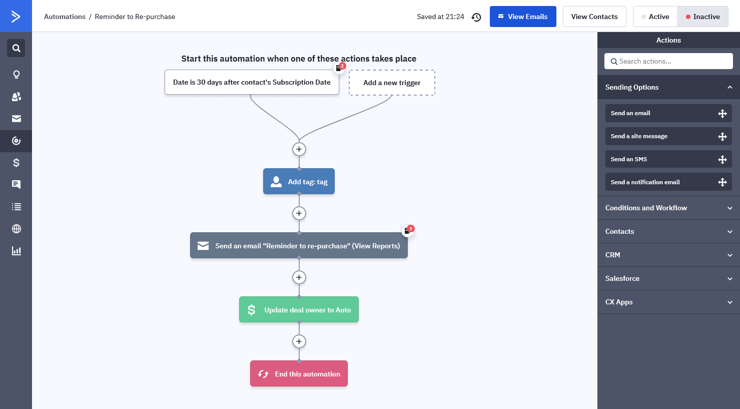 ActiveCampaign's automation workflow editor