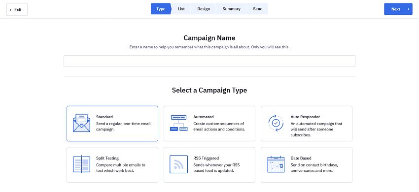 ActiveCampaign's email campaign types