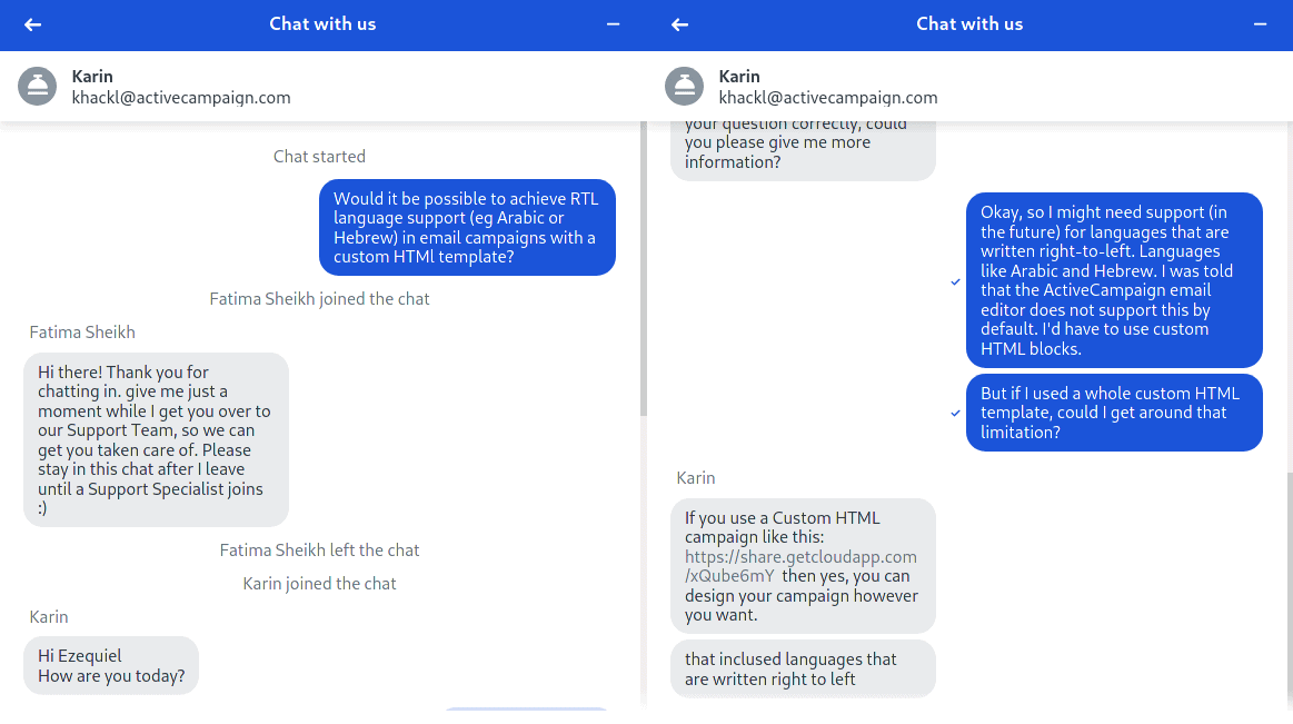 ActiveCampaign chat support