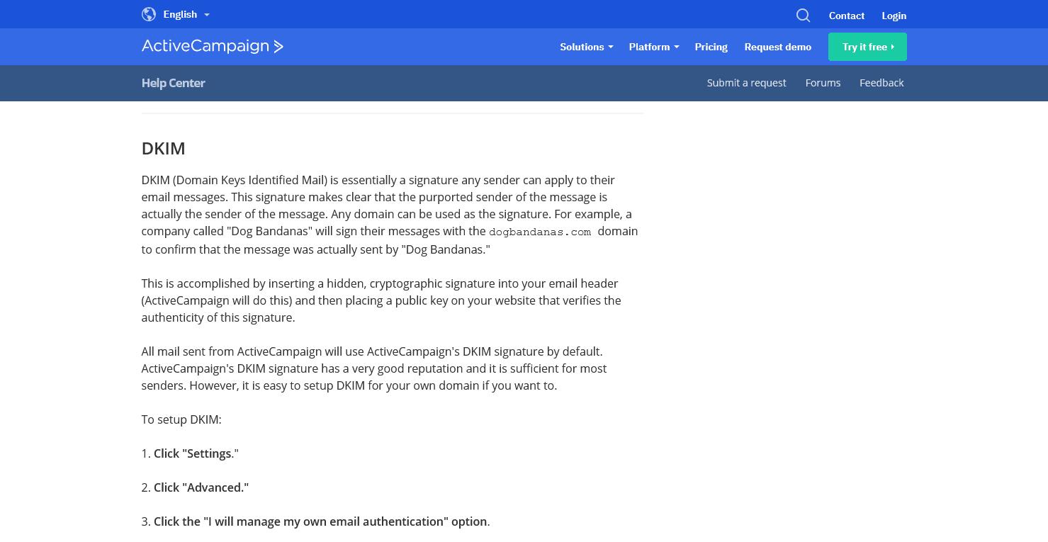 ActiveCampaign's DKIM activation guide