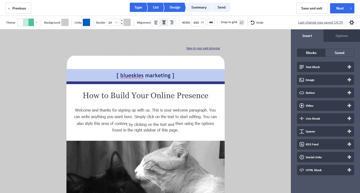 ActiveCampaign's email builder