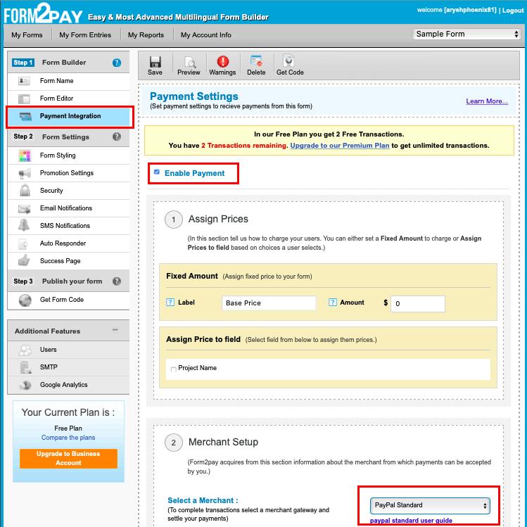 Form2Pay screenshot - Payment integration