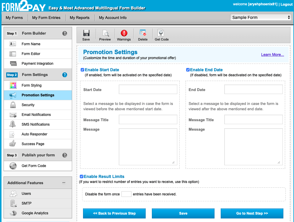 Form2Pay screenshot - Promotion settings