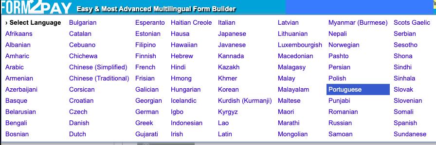 Form2Pay screenshot - Language selector