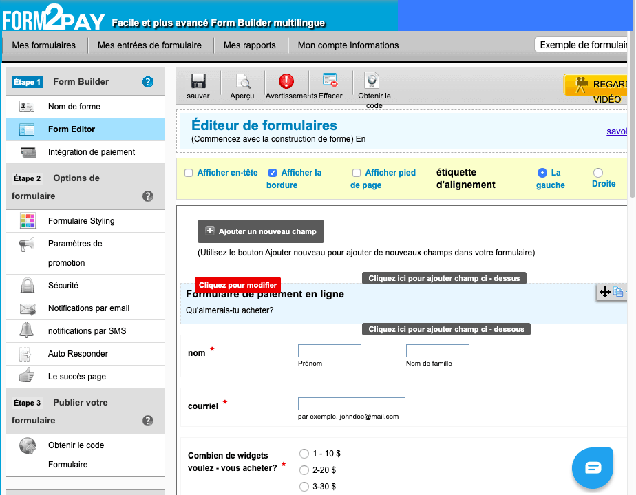 Form2Pay screenshot - Form Editor in French