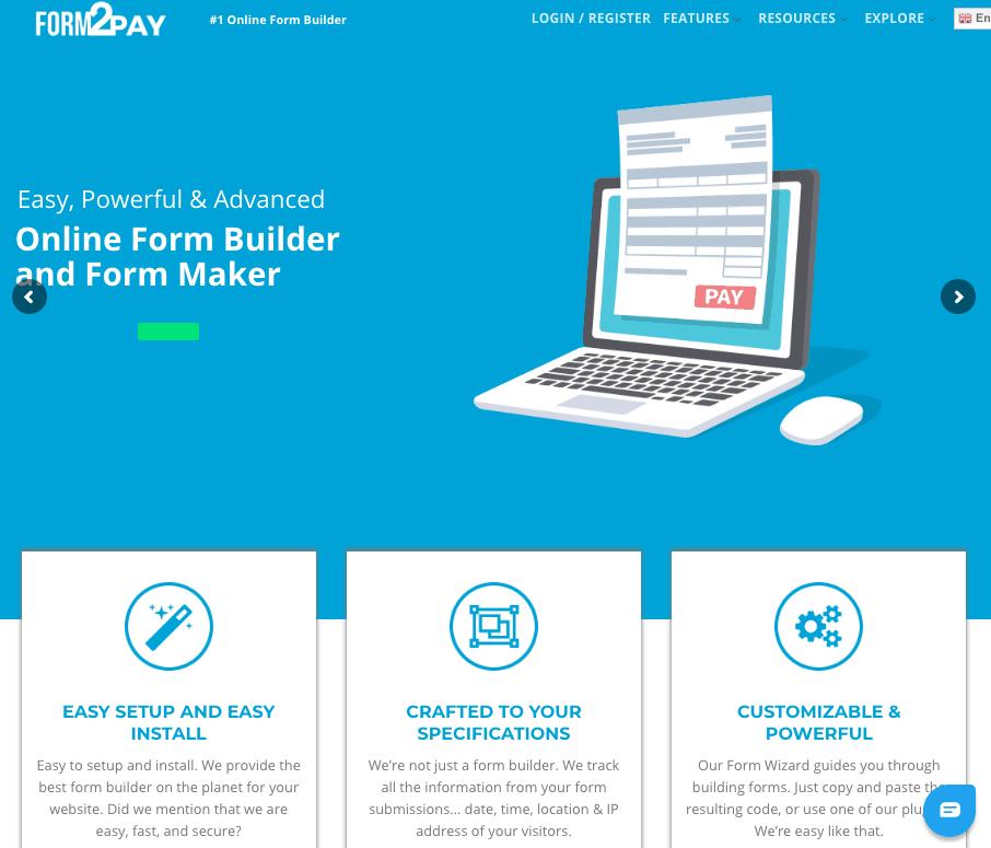 Form2Pay screenshot - homepage