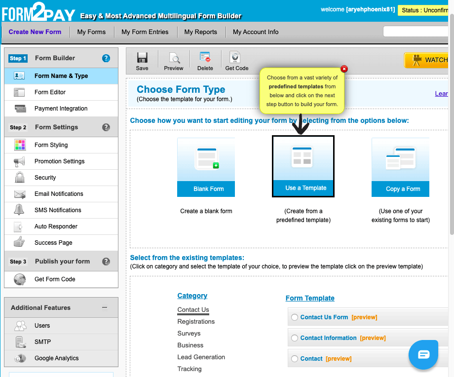 Form2Pay screenshot - Templates