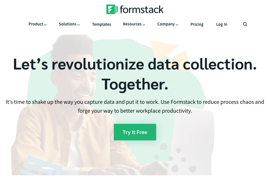 Formstack screenshot - Homepage
