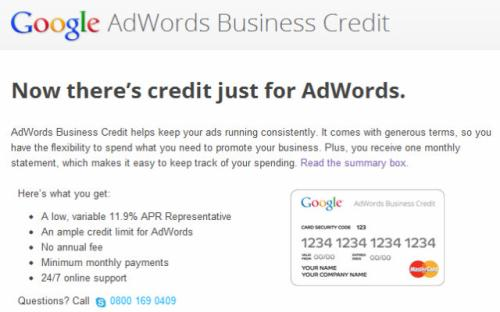 Google AdWords Credit Card to Help Small Businesses