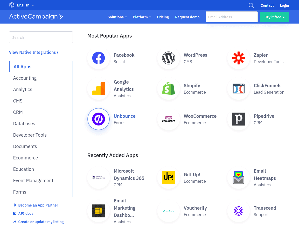 ActiveCampaign's addons and apps