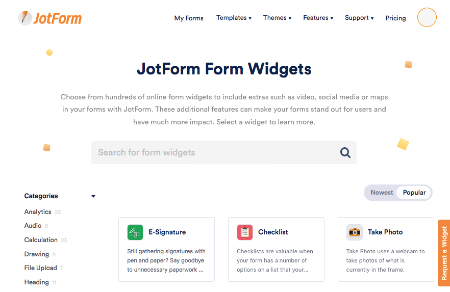 JotForm screenshot - Form Widgets
