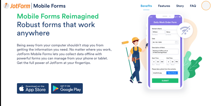 JotForm screenshot - Mobile Forms