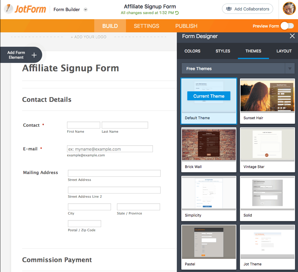 JotForm screenshot - Form Designer