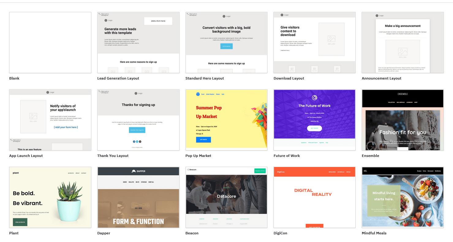 ActiveCampaign's landing page templates