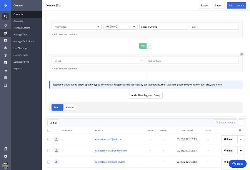 ActiveCampaign's advanced search and segmentation UI