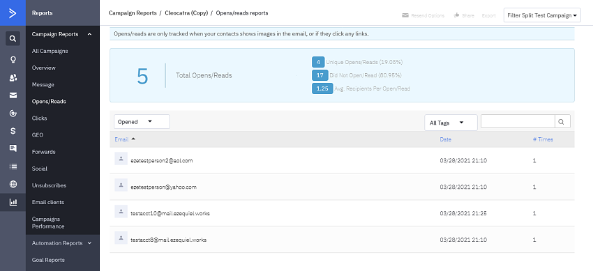 ActiveCampaign's who-clicked-on-what reports