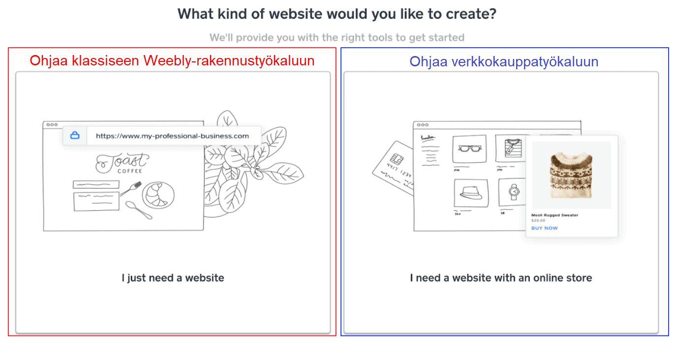 Classic Weebly Builder vs E-commerce builder