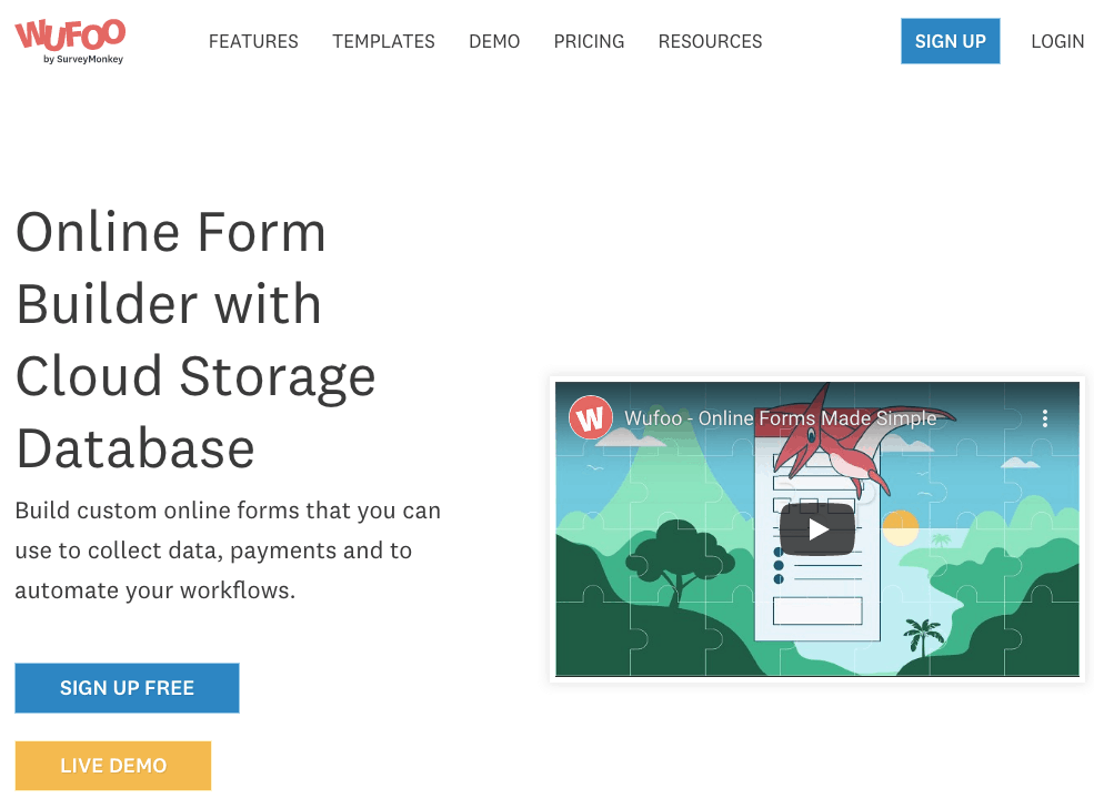 Wufoo form builder review - homepage screenshot