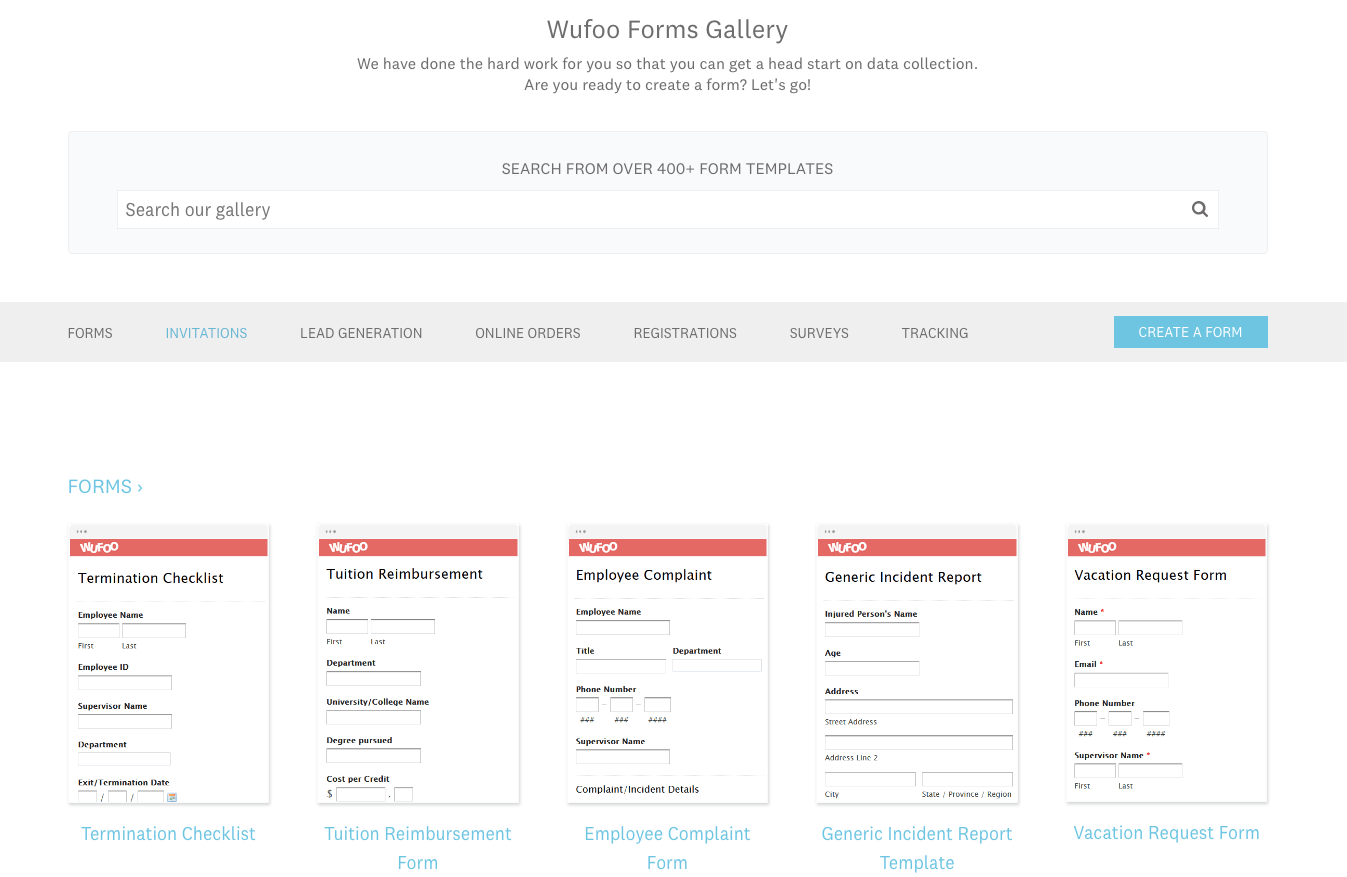 Wufoo screenshot - form templates