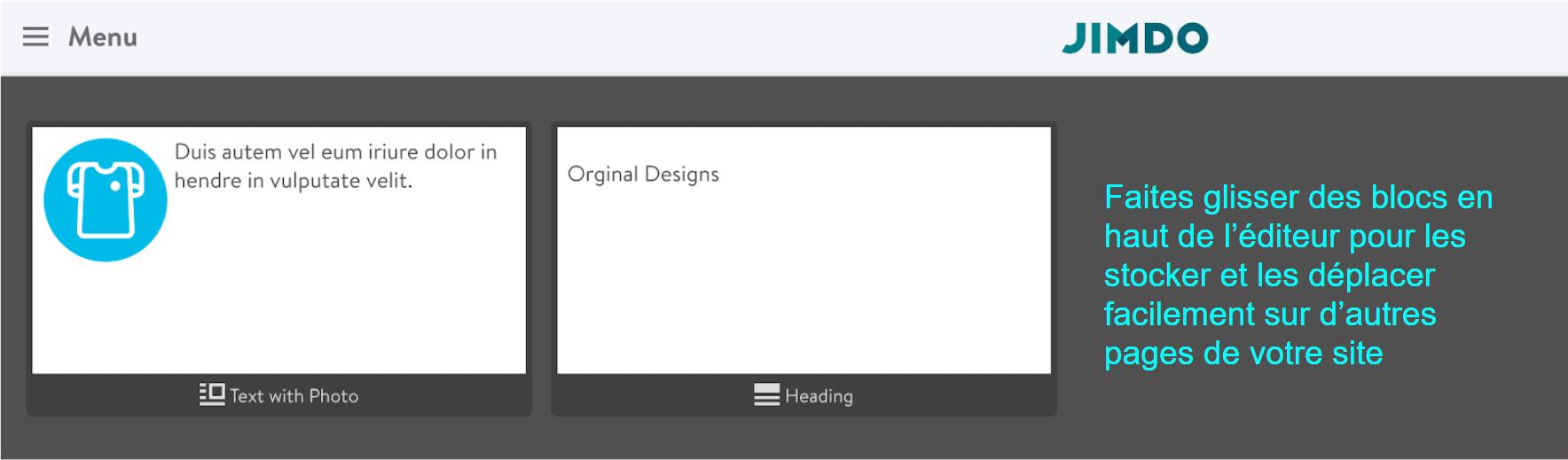 Jimdo Creator block editor workspace