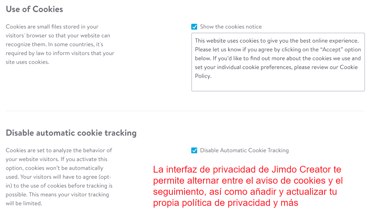 Privacy policy interface - Jimdo Creator