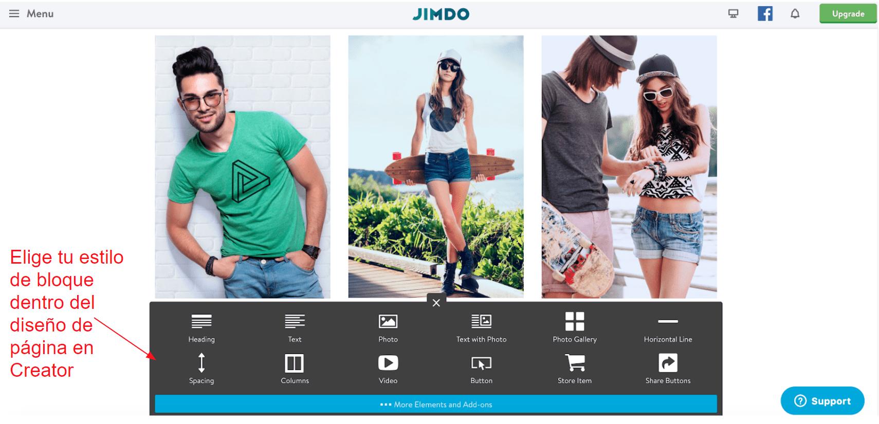Jimdo Creator in-line block editor