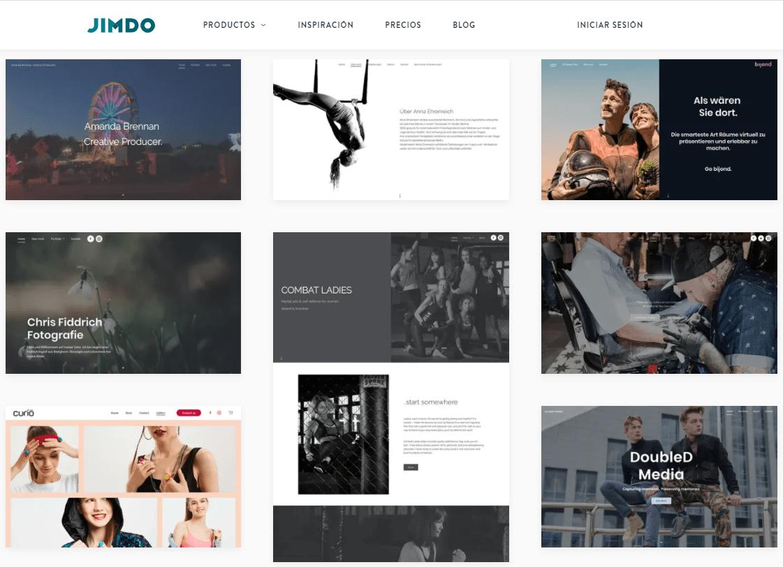 Jimdo Creator template results