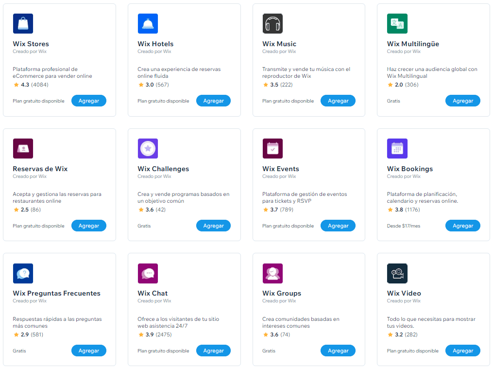 Wix-created apps in the Wix app market