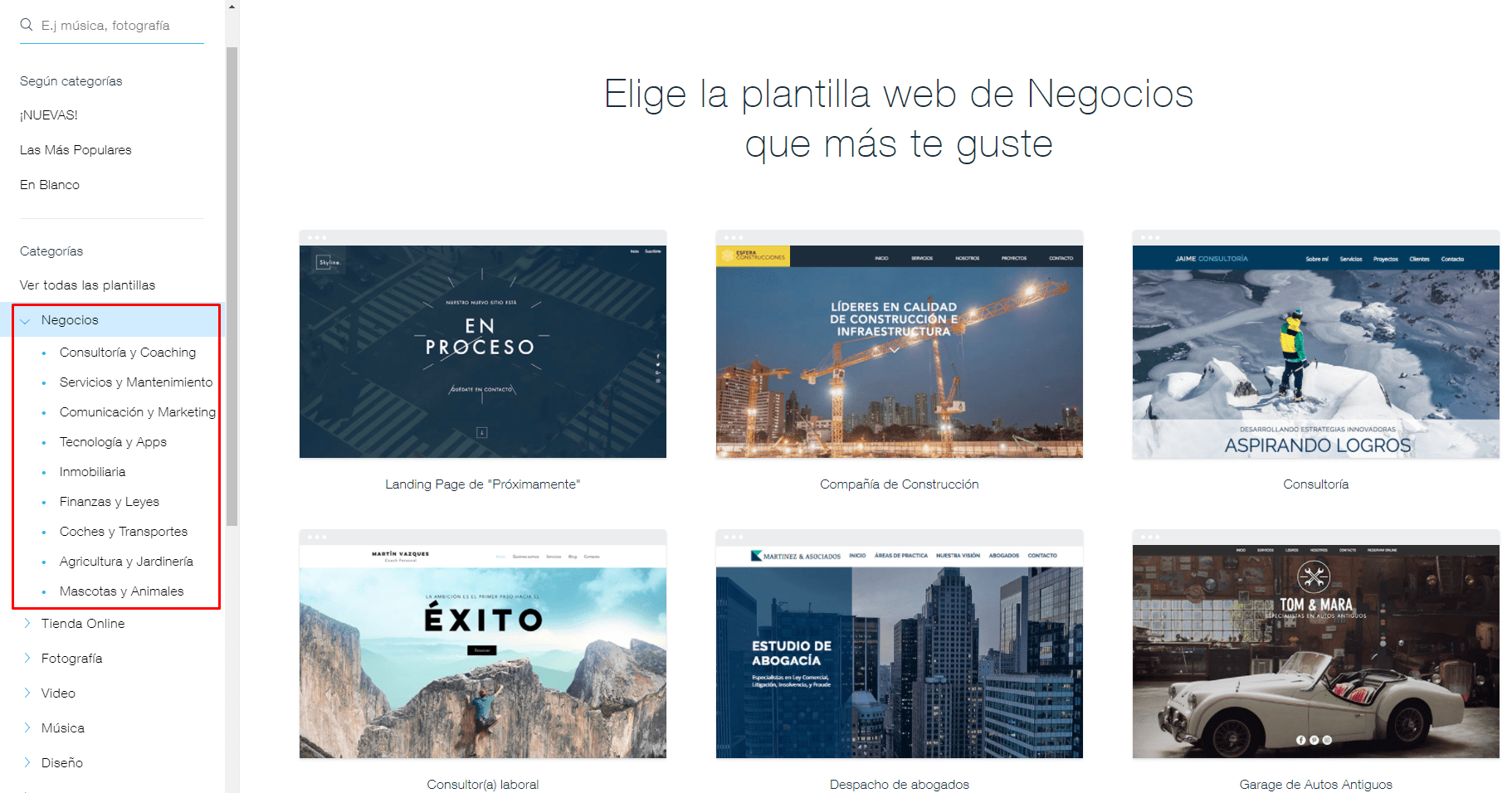 Wix template categories