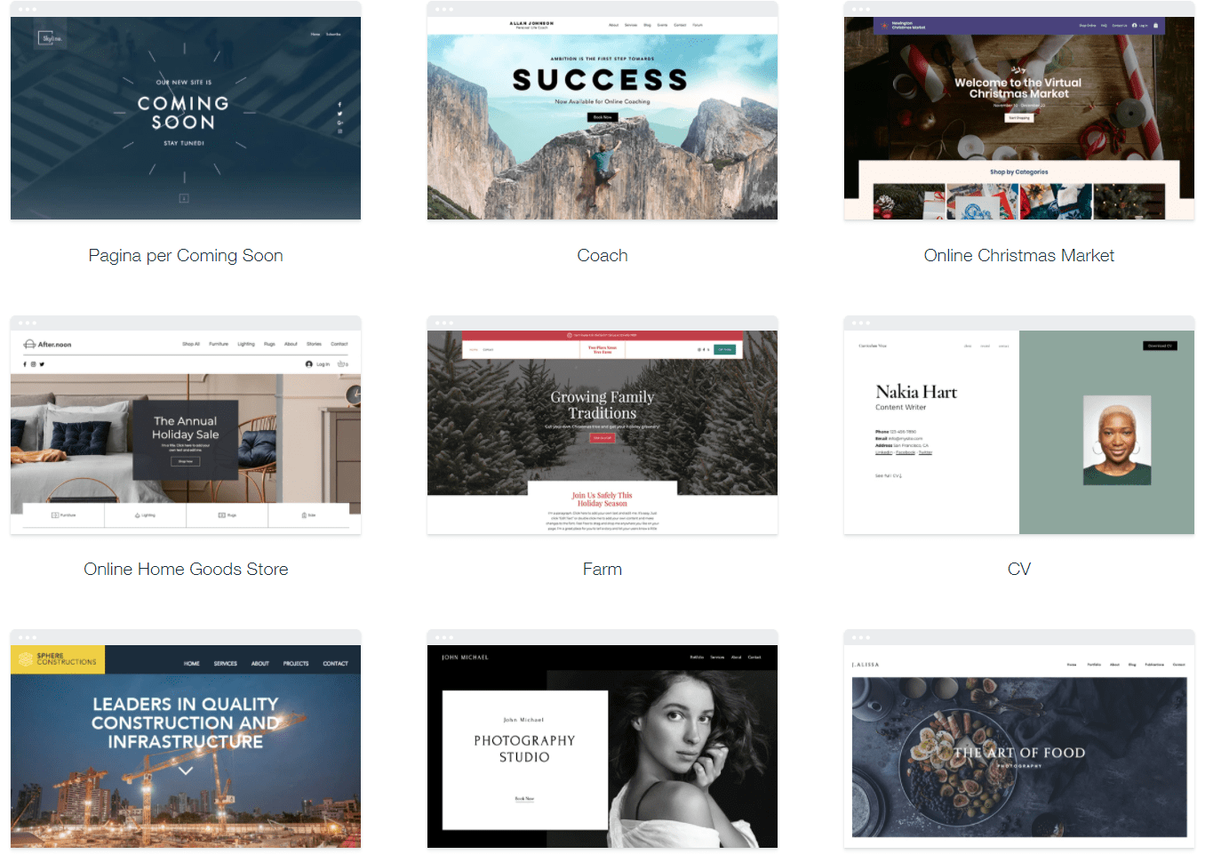 Website template options - Wix